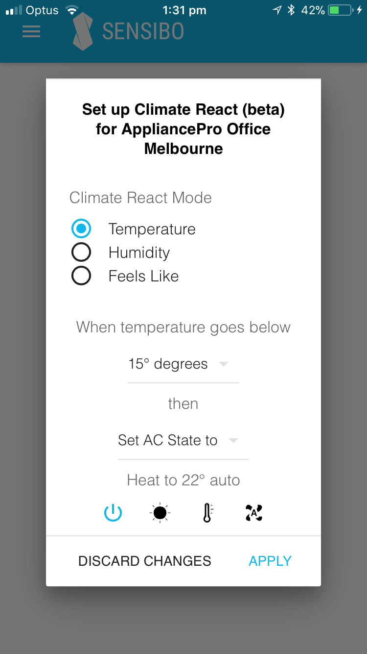 Climate React screen on mobile